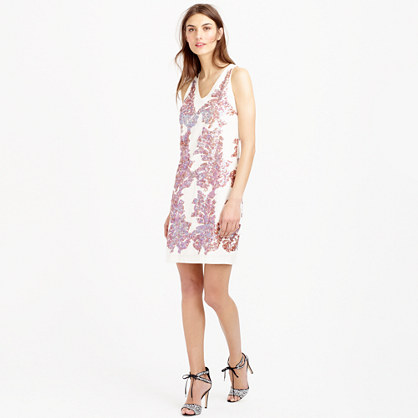 Linen sundress in iridescent sequin