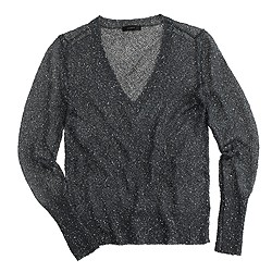Iridescent shimmer V-neck sweater