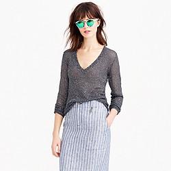 Iridescent shimmer V-neck sweater