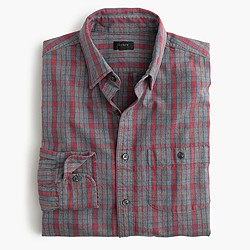 Jaspé cotton shirt in heather slate plaid