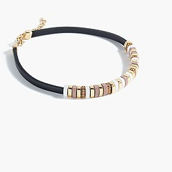 Leather cord pavé ring collar necklace