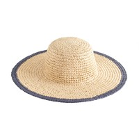 Straw beach hat with blue trim