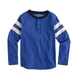 Boys' double-striped sleeve cotton henley