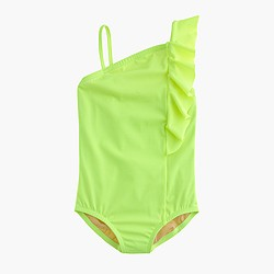 Girls' neon ruffle-shoulder one-piece swimsuit