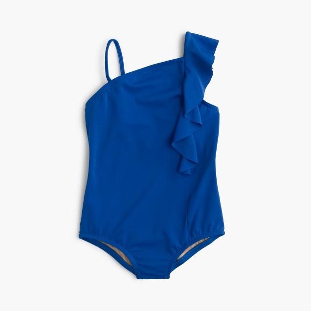 Girls' ruffle-shoulder one-piece swimsuit