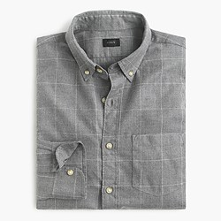 Slim brushed twill shirt in windowpane