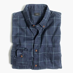Brushed twill shirt in windowpane