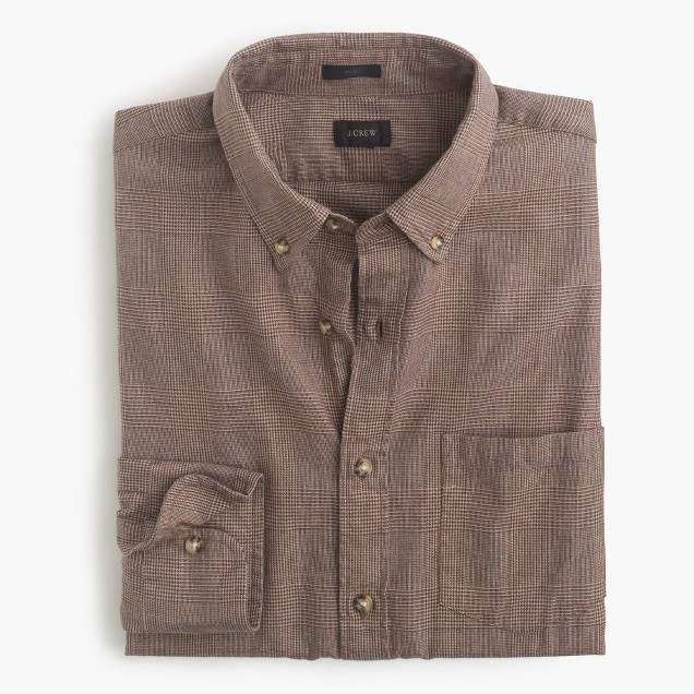 Slim brushed twill shirt in heather harvest glen plaid for Brushed cotton twill shirt