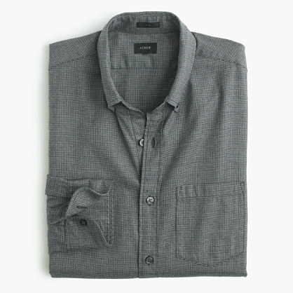 Slim Brushed Twill Shirt In Houndstooth Brushed Twill