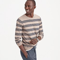 Slim cotton-cashmere sweater in triple stripe