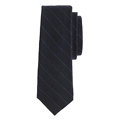 Linen-cotton tie in indigo stripe