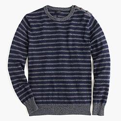 Button-shoulder cotton sweater in marled navy stripe