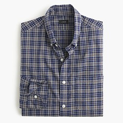 Slim Secret Wash shirt in heather navy plaid