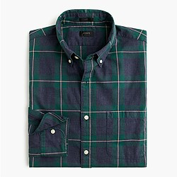 Slim Secret Wash shirt in heather dark green plaid