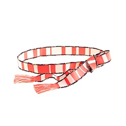 Beaded striped tassel belt