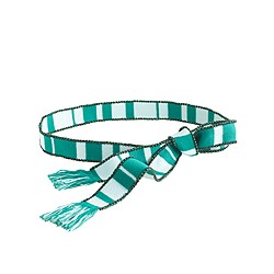 Beaded striped tassel belt