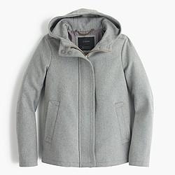 Petite wool melton hooded bib jacket
