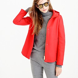 Wool melton hooded bib jacket