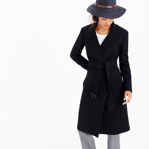 Collection collarless V-neck wrap coat