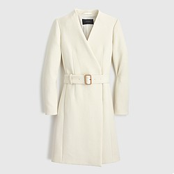 Petite Collection collarless V-neck wrap coat