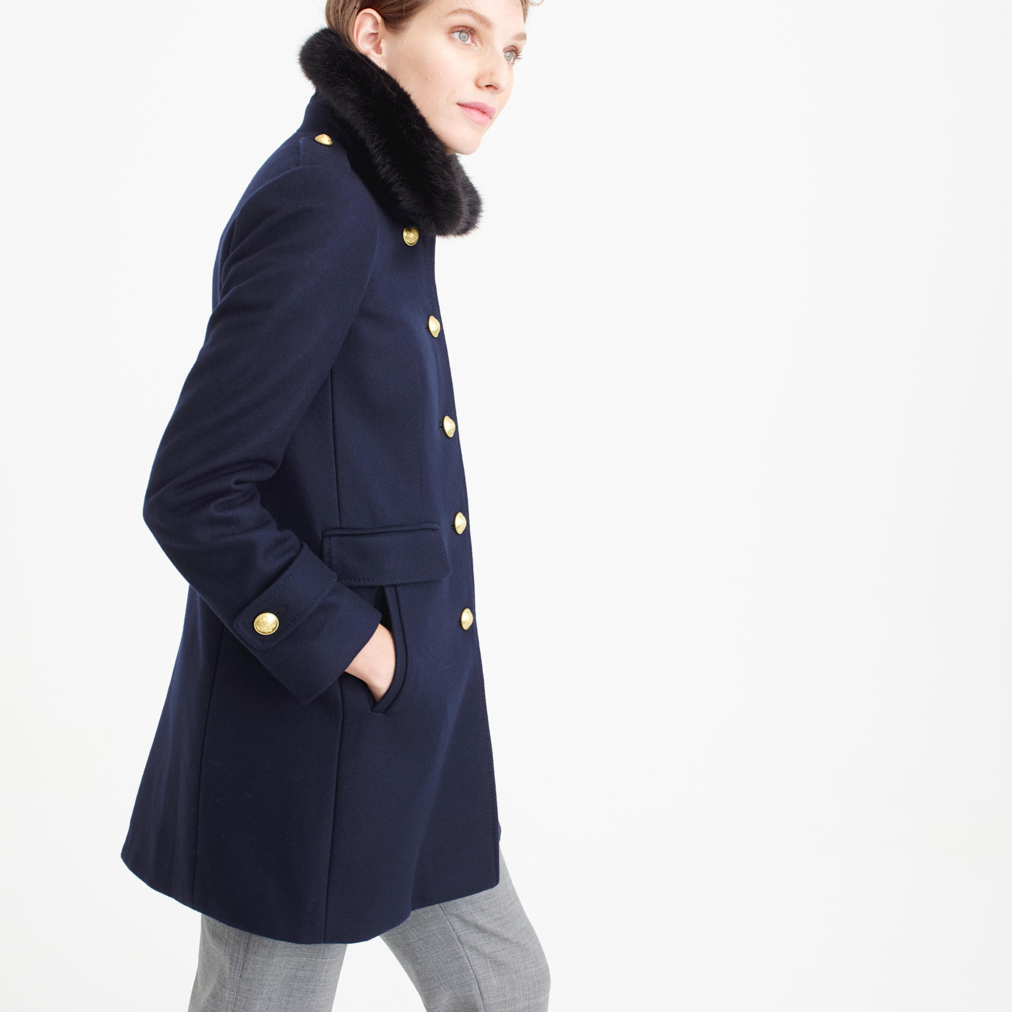 Wool melton military coat with faux-fur collar : | J.Crew