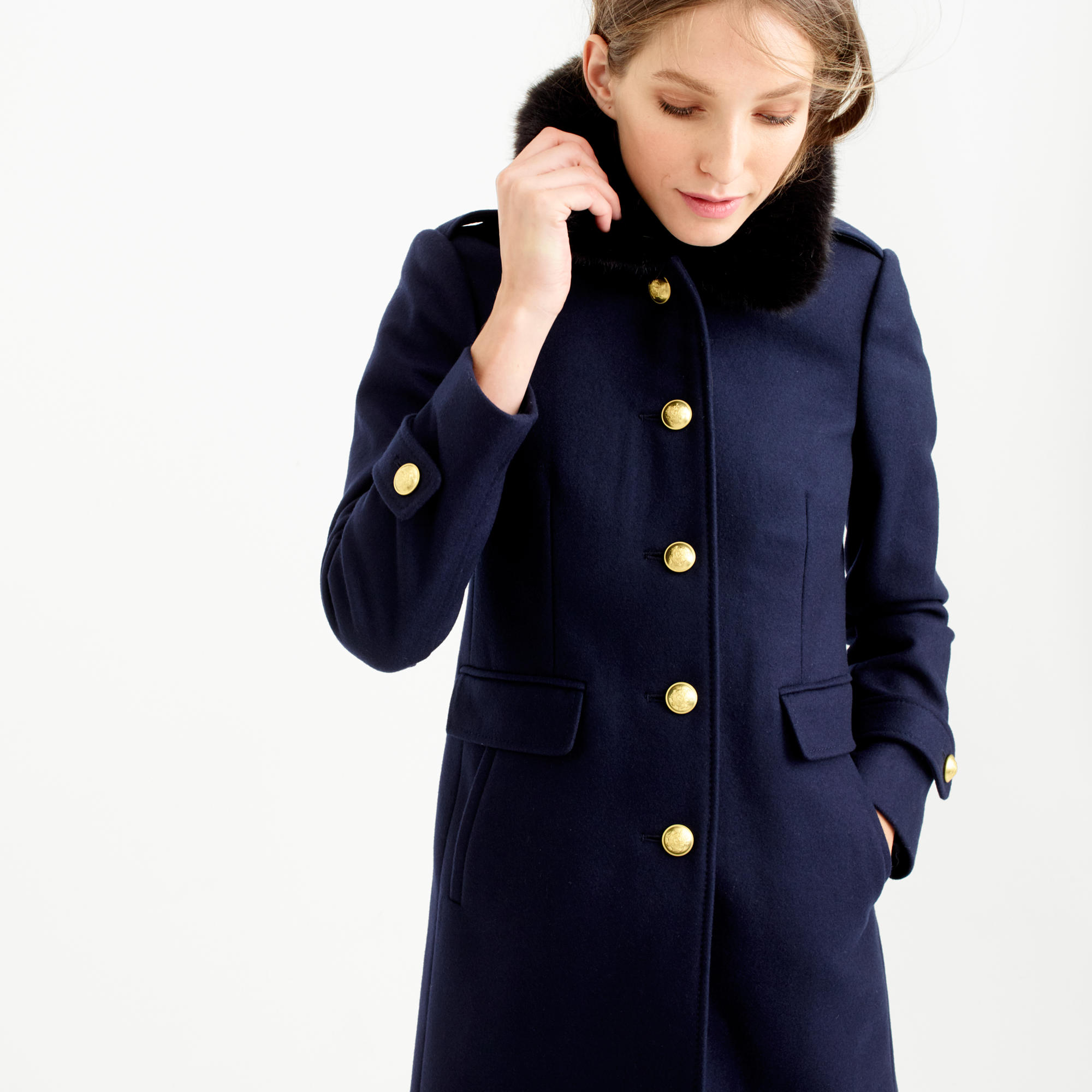 Petite wool melton military coat with faux-fur collar : | J.Crew