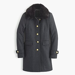 Wool melton military coat with faux-fur collar