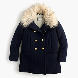 Girls' chateau faux-fur-collar coat