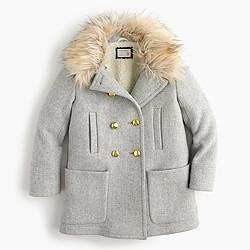 Girls' chateau faux-fur-collar coat