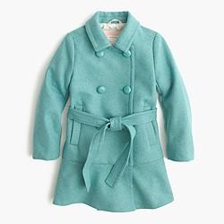 Girls' ruffle-hem wool coat