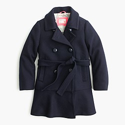 Girls' ruffle-hem wool coat