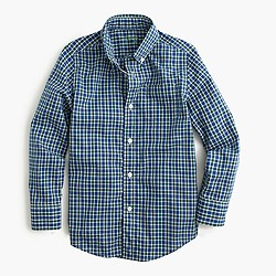 Boys' Secret Wash shirt in blue tattersall