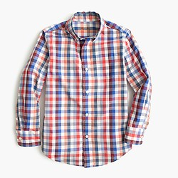 Boys' slim Secret Wash shirt in multi gingham