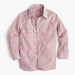 Boys' Secret Wash shirt in orange tattersall