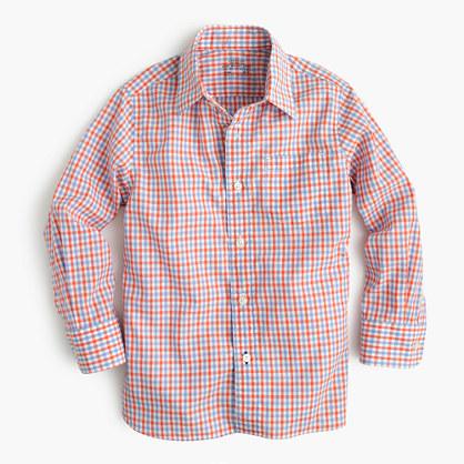 Boys' Secret Wash shirt in orange tattersall