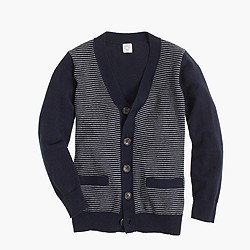 Boys' cotton-cashmere cardigan sweater in stripe