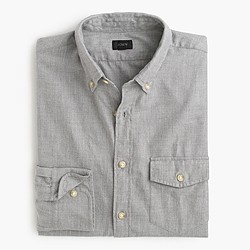 Slim brushed twill shirt in herringbone