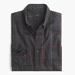 Slim brushed twill shirt in windowpane gingham