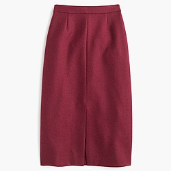 Petite A-line midi skirt in double-serge wool