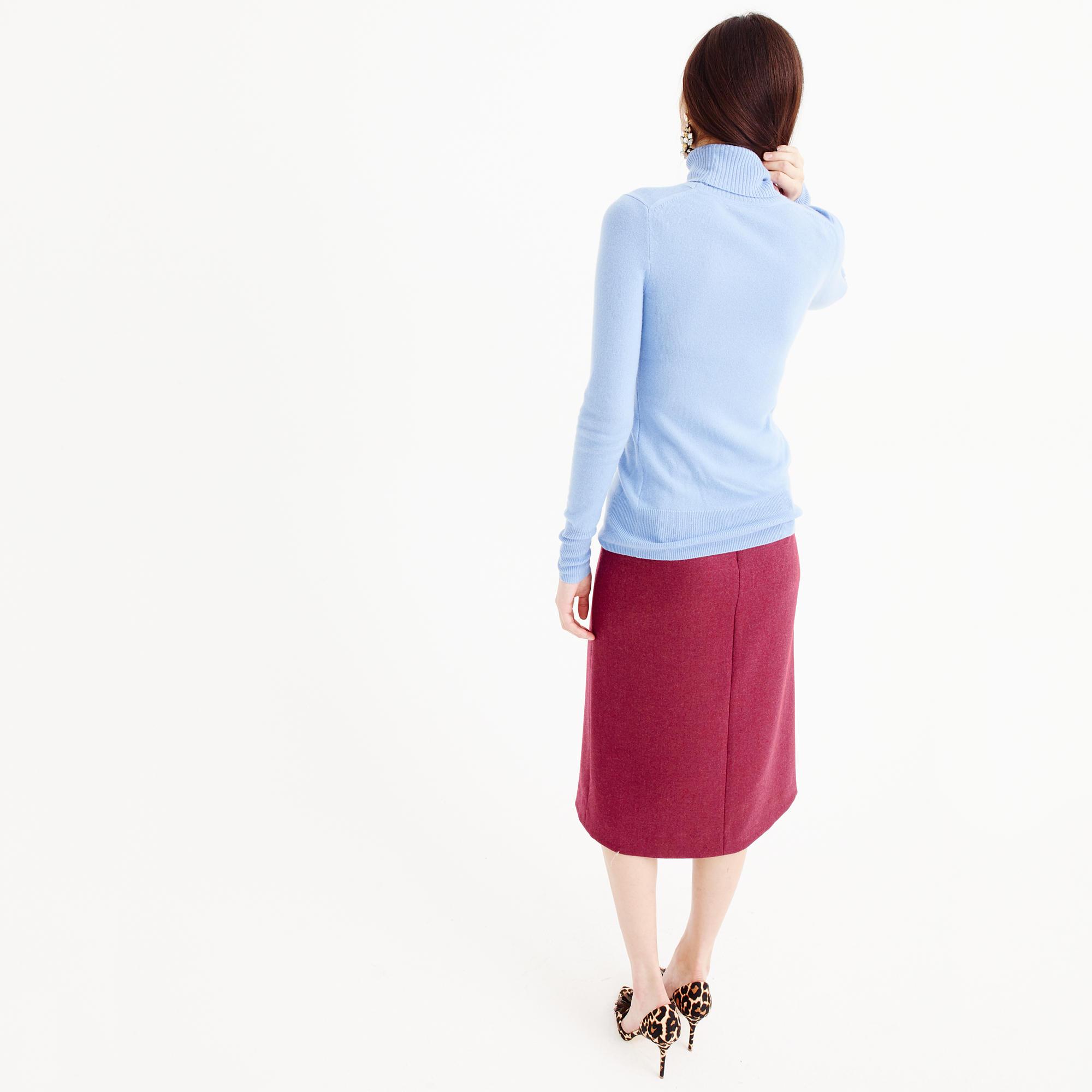 Petite A-line midi skirt in double-serge wool : Women skirts | J.Crew