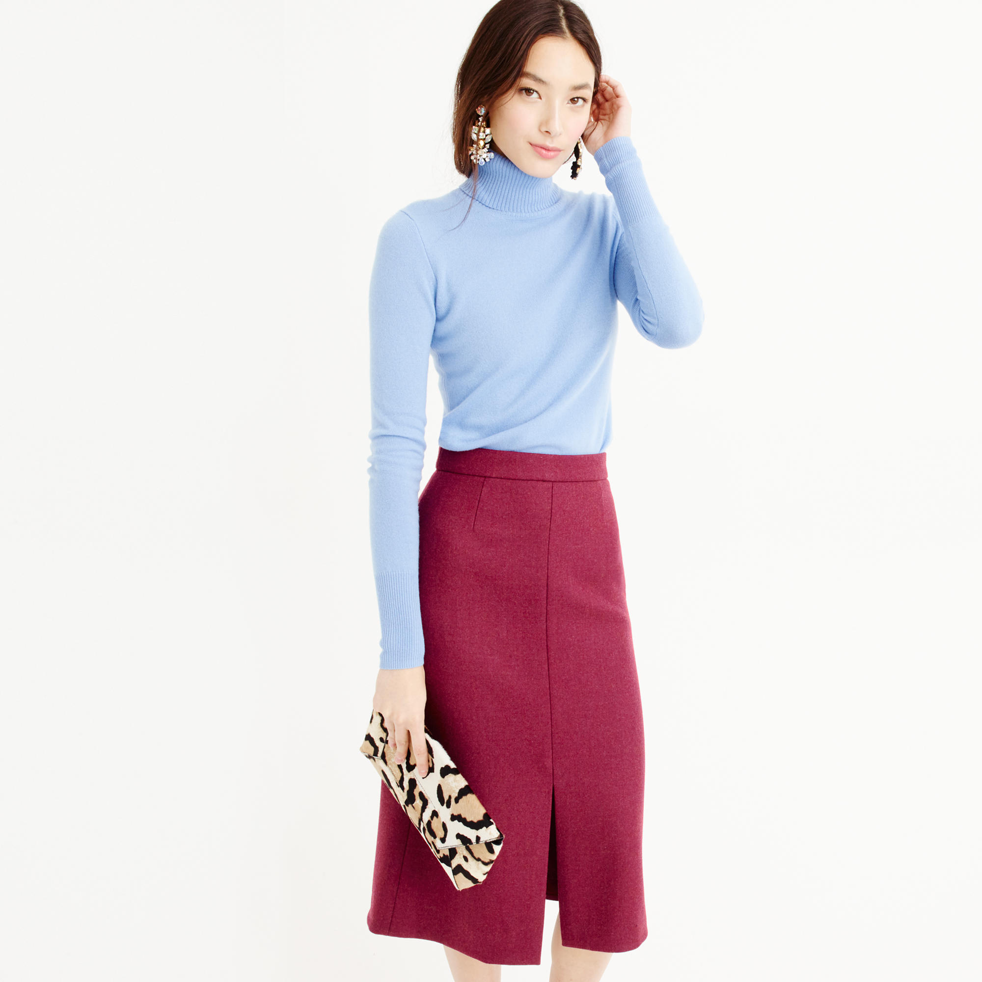 A-line midi skirt in double-serge wool : Women A-line/Midi | J.Crew