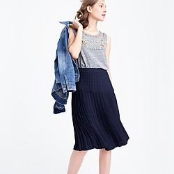 Micropleated midi skirt