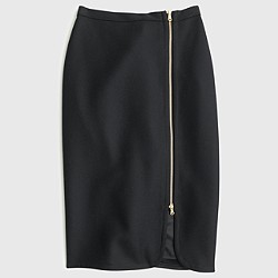 Wool zip pencil skirt