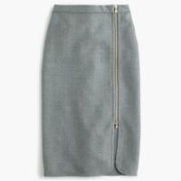 Wool zip pencil skirt