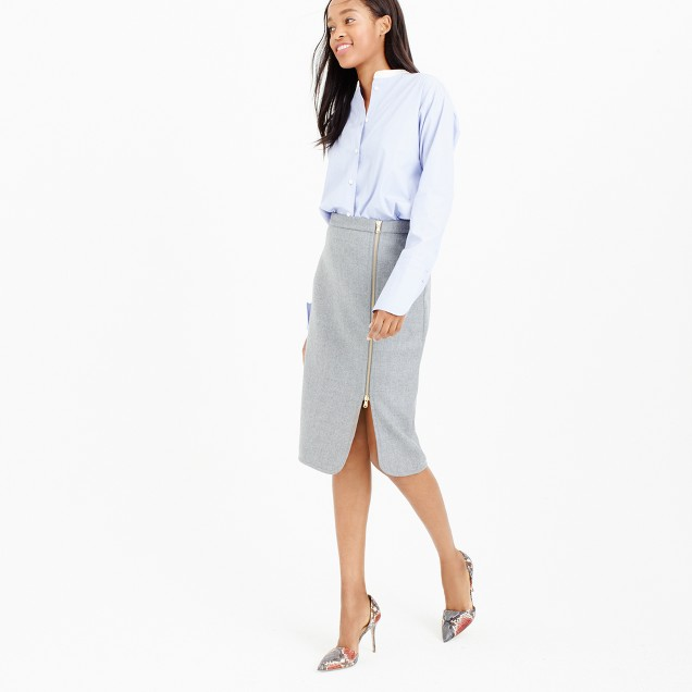 Petite wool zip pencil skirt