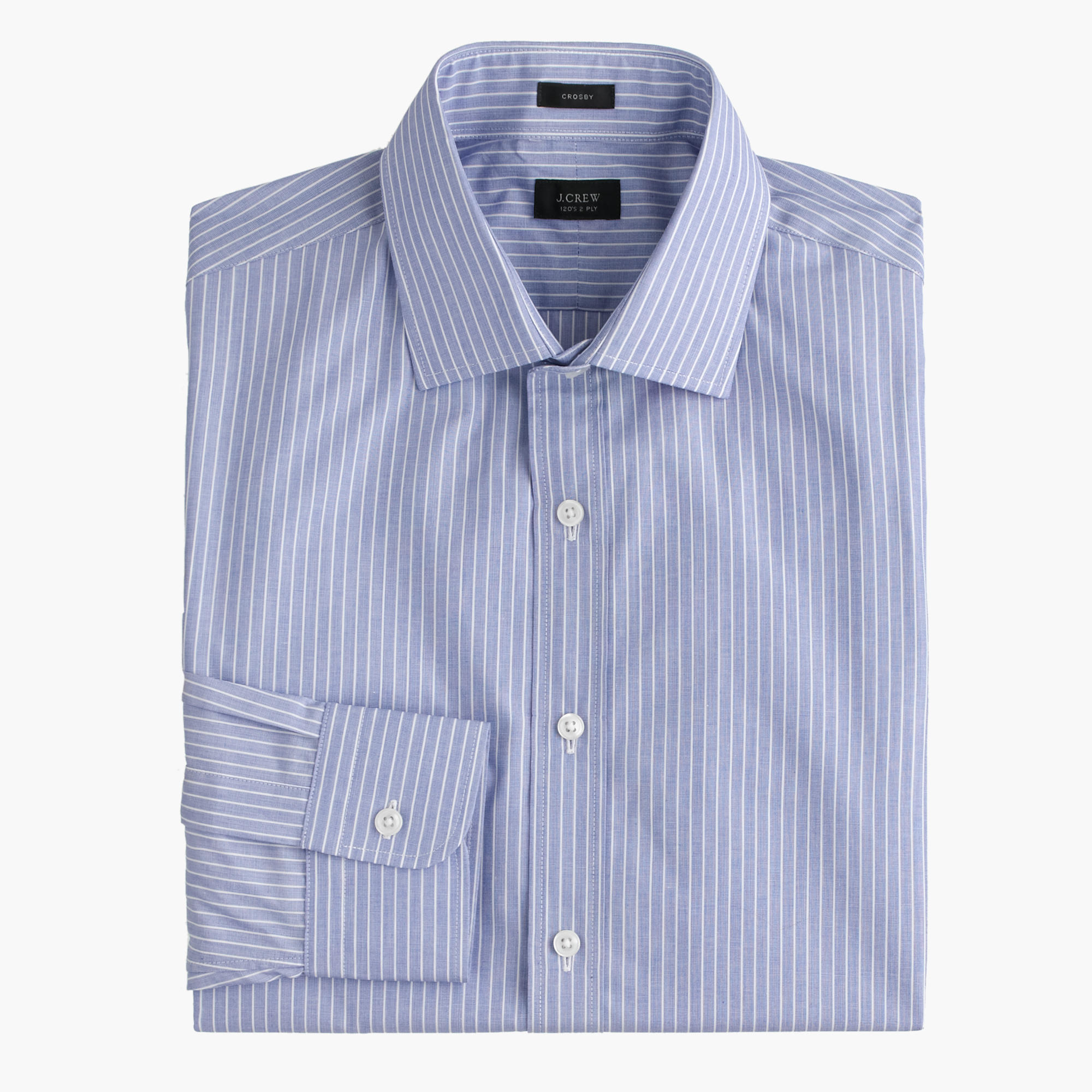 Crosby shirt in striped end on end cotton men crosby j for Dress shirts for athletic build