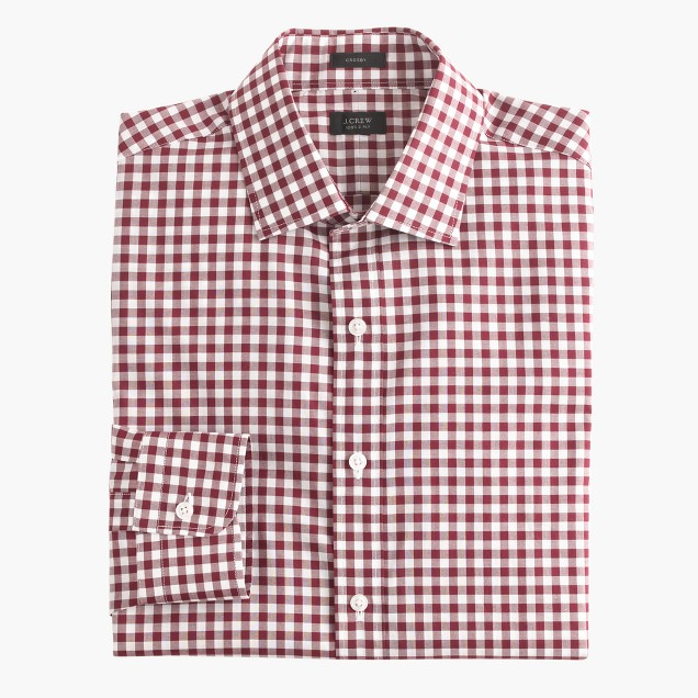 Crosby shirt in classic burgundy gingham j crew for Dress shirts for athletic build