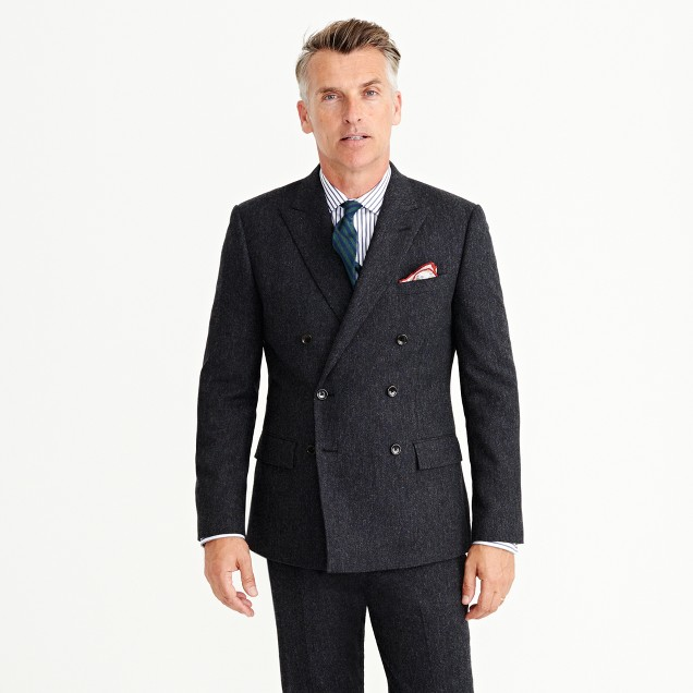 Ludlow double-breasted suit jacket in English Donegal tweed