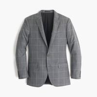 Ludlow suit jacket in windowpane Italian wool flannel