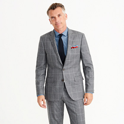 Ludlow suit jacket in windowpane Italian wool flannel